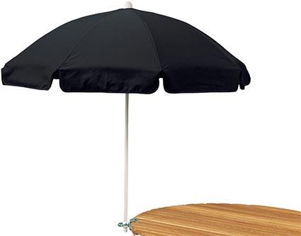 Balkongparasoll som mycket enkelt kan fästas vid ett bord