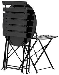 Hopfällbara balkongmöbler i svartmålat stål
