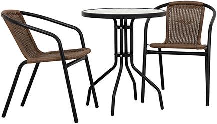 Litet balkongbord i svart stål tillsammans med två brunsvarta stapelstolar